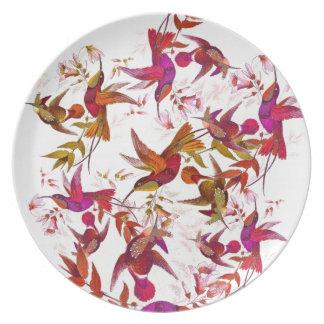 Kolibri-Vogel-Tier-Tier-Blumen mit Blumen Essteller