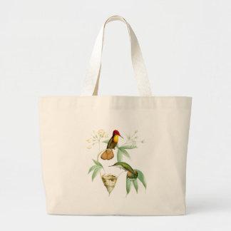 Kolibri-Vogel-Tier-Tier-Blumen mit Blumen Jumbo Stoffbeutel