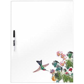 Kolibri-Vogel-tropische Blumen trocknen Memoboard