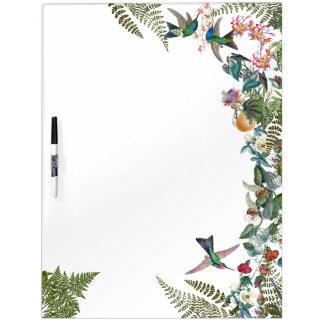 Kolibri-Vogel-tropische Blumen trocknen Trockenlöschtafel