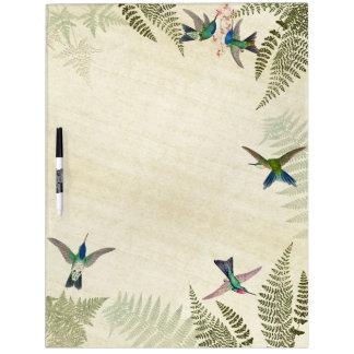 Kolibri-Vogel-tropische Farne trocknen Trockenlöschtafel