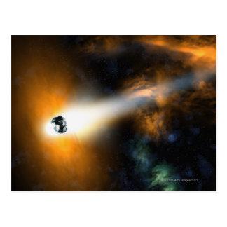Komet, der durch Atmosphäre absteigt Postkarte