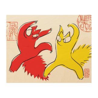 Komische lustige Streitkatze Asiatsillustration Holzleinwand