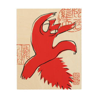 Komische lustige Streitkatze Asiatsillustration Holzwanddeko