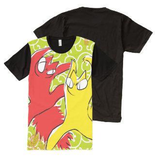Komische lustige Streitkatze Asiatsillustration T-Shirt Mit Komplett Bedruckbarer Vorderseite
