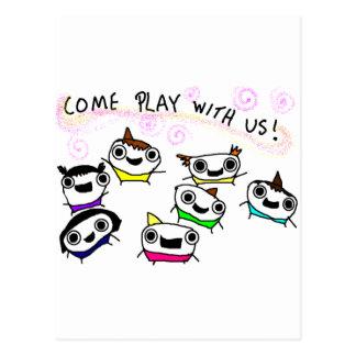 """""""Kommen Spiel mit uns """" Postkarte"""