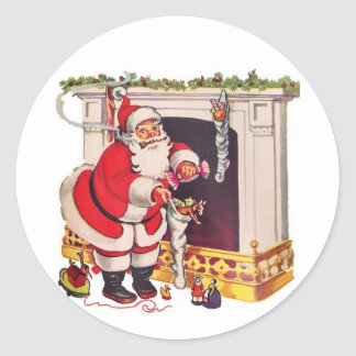 Kommt hier Weihnachtsmann/Aufkleber Runder Aufkleber