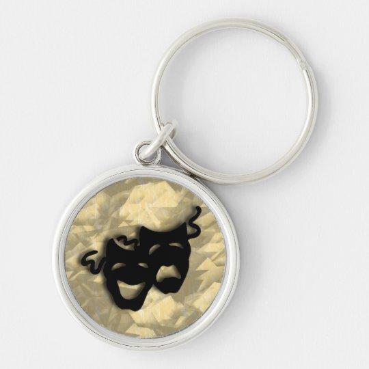 Komödien-und Tragödie-schwarze Masken Keychain Silberfarbener Runder Schlüsselanhänger