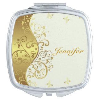 Kompakter Spiegel--GoldWirbel u. -elfenbein Taschenspiegel
