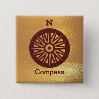 Kompass-Instrument-Richtung - Quadratischer Button 5,1 Cm