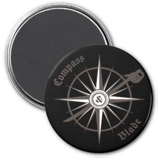 Kompass-und Blatt-Kühlschrankmagnet Runder Magnet 7,6 Cm