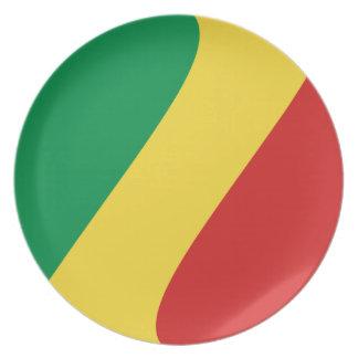 Kongo-Brazzaville Fisheye Flaggen-Platte Melaminteller