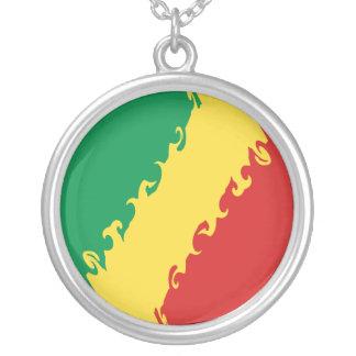 Kongo-Brazzaville Gnarly Flagge Halskette Mit Rundem Anhänger