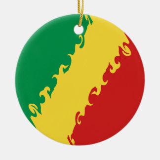Kongo-Brazzaville Gnarly Flagge Rundes Keramik Ornament