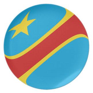 Kongo-Kinshasa Fisheye Flaggen-Platte Melaminteller