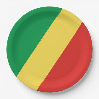 Kongo- - Kongoflagge Pappteller