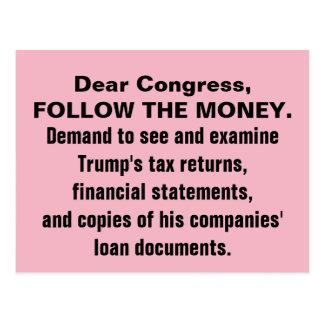 Kongreß folgen den Geld-Trumpf-Steuererklärungen Postkarte
