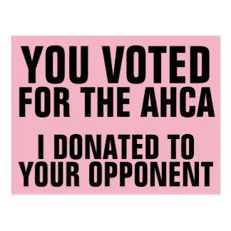 Kongress-Stimmen für AHCA, spenden wir zu den Postkarte