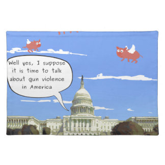 Kongress-u. Gewehr-Gewalt-Gespräch, wenn Schweine Stofftischset