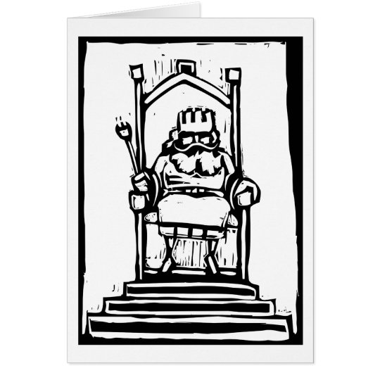 König auf Thron Grußkarte