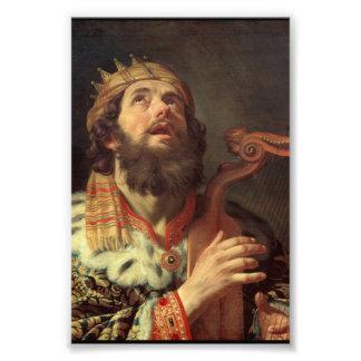 König David Playing His Harp Photodruck