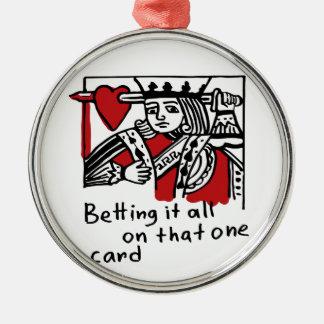 König der Herzen Rundes Silberfarbenes Ornament