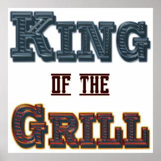 König des Grill GRILLEN Sprichwort-Druckes Plakatdruck