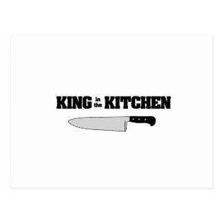 König im Messer des Küchen-horizontalen Koch Postkarte