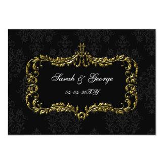 königlich blühen Sie Schwarzes und Golddamast Save 12,7 X 17,8 Cm Einladungskarte