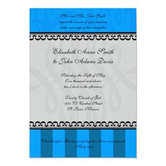 Königliche blaue u. graue Hochzeits-Einladung 12,7 X 17,8 Cm Einladungskarte