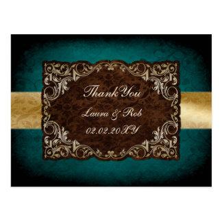 königliche Hochzeit des rustikalen Aqua danken Postkarte