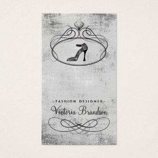 Königliche Modedesigner-Schuh-Emblem-Damast-Karte Visitenkarte