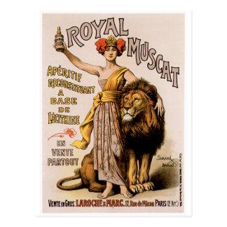 Königliche Wein-Getränk-Anzeigen-Kunst Muscats Postkarte