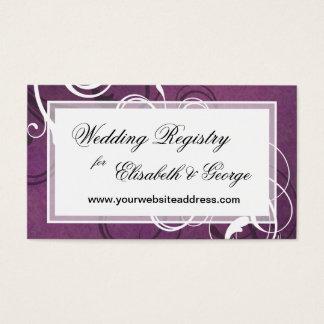 Königlicher lila Grunge-Damast-elegante Hochzeit Visitenkarte