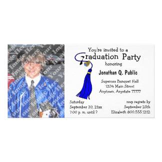 Königliches Blau-Abschluss-Party-Foto-Einladung Bildkarten