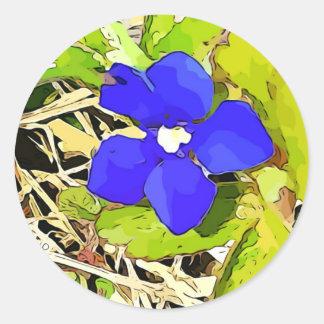 Königliches Blau-Enzian-Blumenaufkleber Runder Aufkleber