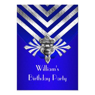Königliches Blau-Geburtstags-Party-Silber-Streifen 12,7 X 17,8 Cm Einladungskarte
