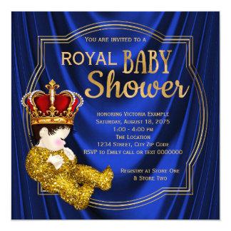 Königliches Blau-Gold Kronprinz-Babyparty Quadratische 13,3 Cm Einladungskarte