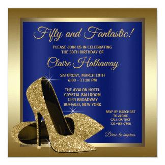 Königliches Blau-Goldhohes Heels-Geburtstags-Party Karte