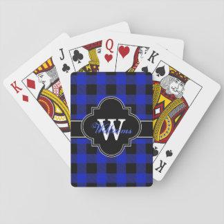 Königliches Blau-schwarzer Büffel-Karo kariertes Spielkarten