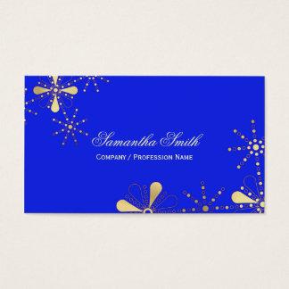 Königliches Blau und Goldblumeninder inspirierter Visitenkarte