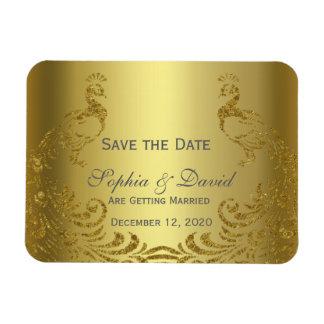 Königliches Goldabstrakter Pfau, der SAVE THE DATE Magnet