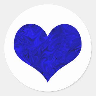 Königliches Kobalt-Blau-Marmorierungherz Runder Aufkleber