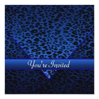 Königliches Marine-Blau-Leopard-Party Quadratische 13,3 Cm Einladungskarte