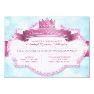 Königliches Party Prinzessin-Pink Glitter Girls 11,4 X 15,9 Cm Einladungskarte