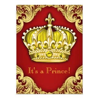 Königliches Rot und Gold Prinz-Babyparty 16,5 X 22,2 Cm Einladungskarte