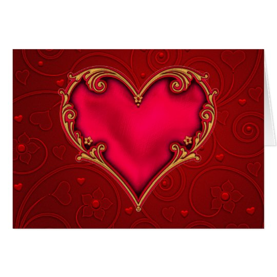 Königliches rotes Herz Karte