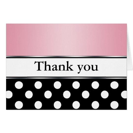 Königliches schwarzes Tupfen-Rosa danken Ihnen Mitteilungskarte
