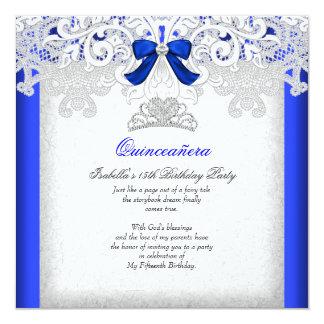 Königsblau-15. Geburtstag 2 Prinzessin-Quinceanera Quadratische 13,3 Cm Einladungskarte