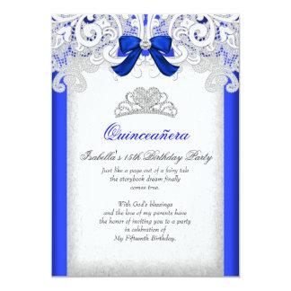 Königsblau-15. Geburtstag Prinzessin-Quinceanera 12,7 X 17,8 Cm Einladungskarte